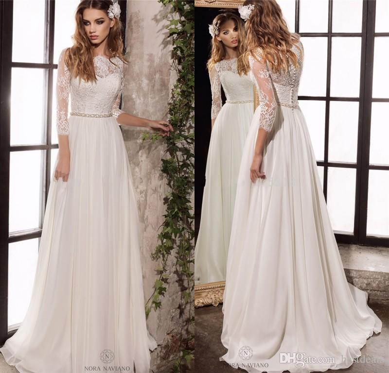 Discount Long Sleeve Lace Wedding Dresses 2018 New Simple Elegant