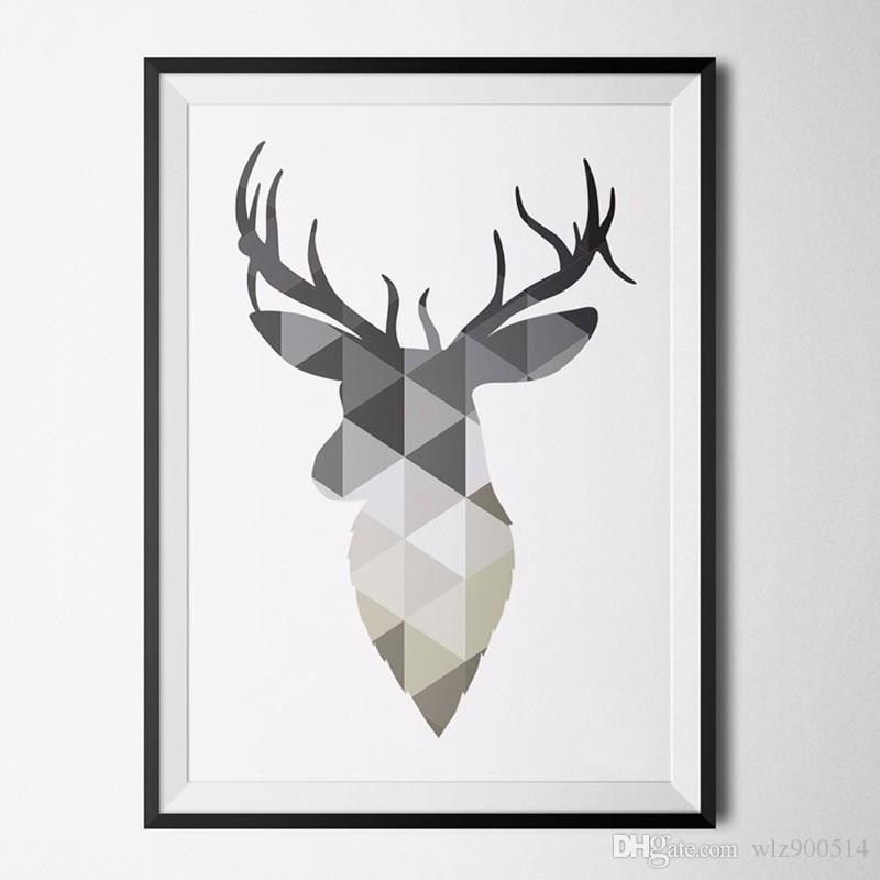 2019 Nordic Deer Grey Poster Print Art Canvas Art Poster Pop Art