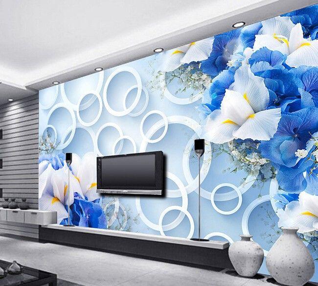 Custom 3d Wallpaper, Blue Fantasy Fashion Flowers Murals For The - 3d wallpaper for living room