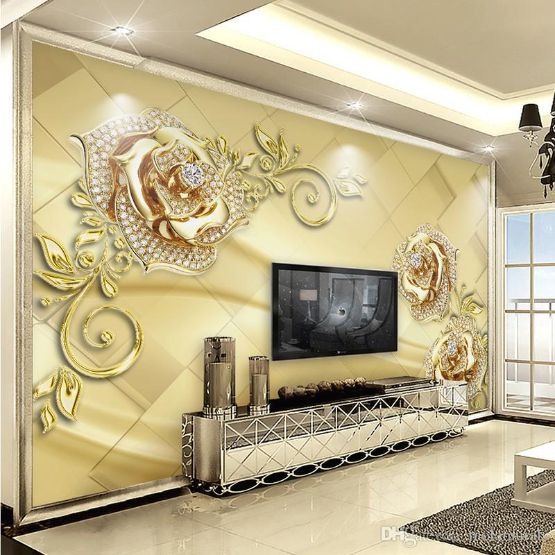 3d Effect Wallpaper For Living Room Wall Mural 3d European Style Marble Diamond Jewelry Flower