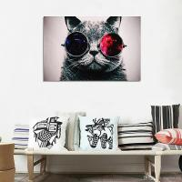 2017 Unframed Cool Cat With Big Glasses Wall Art Oil ...