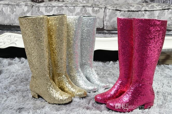 Fashion Gold Silver Low Heel Knee High Boots Woman
