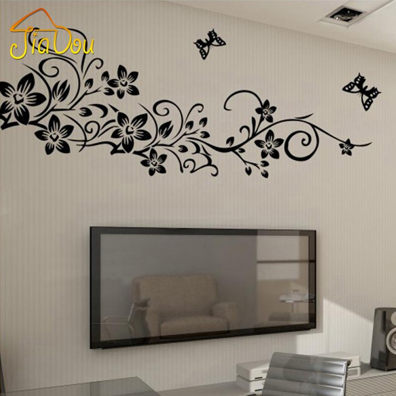 Black Butterfly Flower Vine Wall Stickers Home Decor Large Paper - large wall decals for living room