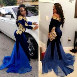 Special G Lace Eveningdresses 2017 New South Africa Long Sleeves Prom Dresses Boat 2017 New South Africa Long Sleeves Prom Dresses Boat Neckline Length Mermaid Royal Blue Velvet Evening Gowns