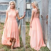 2017 High Low Lace Country Bridesmaids Dresses High Neck ...