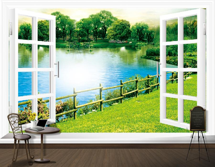 Wallpaper Dinding Pemandangan 3d Modern Fashion Art Customized Blank Window Large 3d Photo