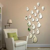 Water Drops Raindrop Shape Acrylic Mirror Wall Sticker ...