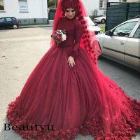 3d Flower Burgundy Muslim Wedding Dresses 2018 Arabic ...