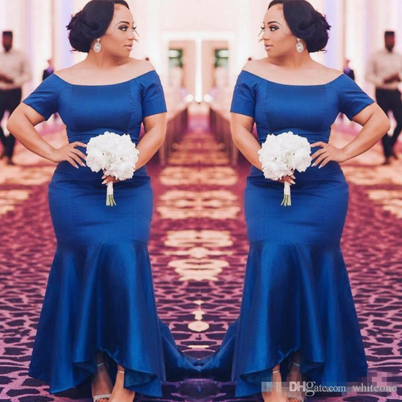 Royal Blue Plus Size Bridesmaid Dresses 2018 Satin Short