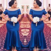 Royal Blue Plus Size Bridesmaid Dresses 2018 Satin Short