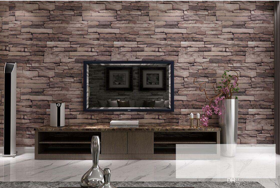3d Wallpaper Online Shopping India New 3d Luxury Wood Blocks Effect Brown Stone Brick 10m