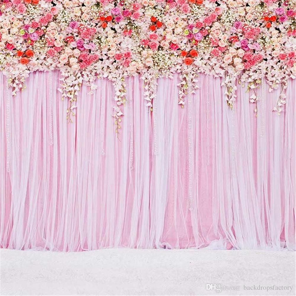 3d Wallpaper Online Shopping India 10 Ft Pink Curtain Wall Wedding Backdrop Colorful Roses