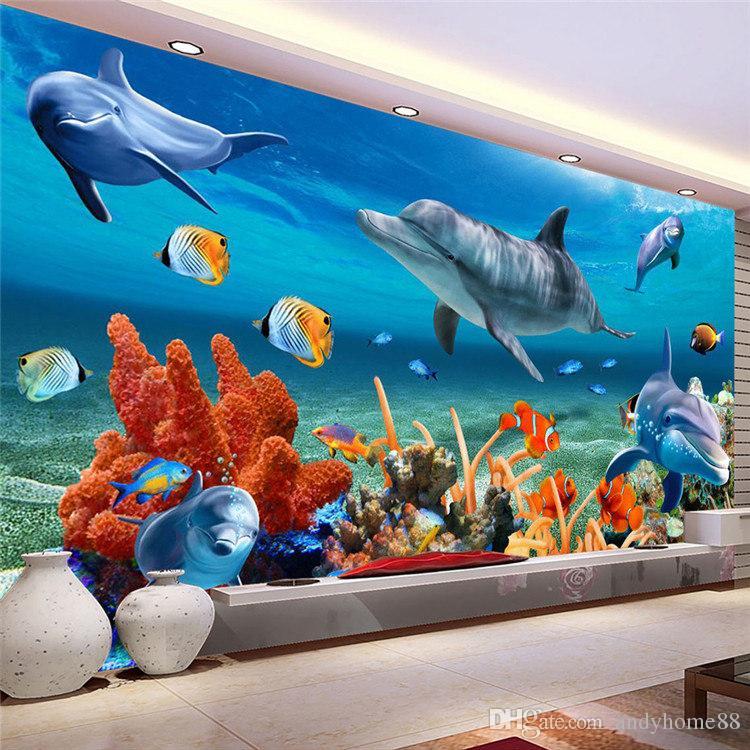 3d Wallpaper Designs For Bedrooms Custom 3d Mural Wallpaper For Kid Underwater Dolphin Fish