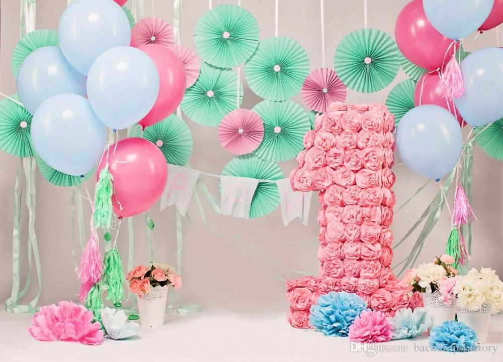 2019 7x5ft Baby\u0027S 1st Birthday Photography Backdrops Flowers