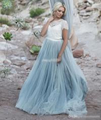 Discount Light Blue Wedding Dresses White Lace Sheer ...
