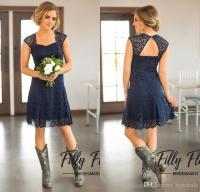 2017 Short Navy Blue Lace Bridesmaid Dresses Capped ...