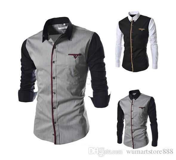 2019 New Men\u0027S Business Shirt Casual Long Sleeved Stitching Sleeve T