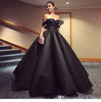 2017 Black Ball Gown Evening Dresses Off The Shoulder ...