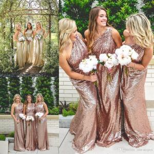 Swanky Honor Gowns Custom Made Formal Wedding Guest Dress Sangriabridesmaid One Shoulder Long Sequin Bridesmaid Dresses Under 2017 Rose G One Shoulder Long Sequin Bridesmaid Dresses Under 2017 Rose Gc