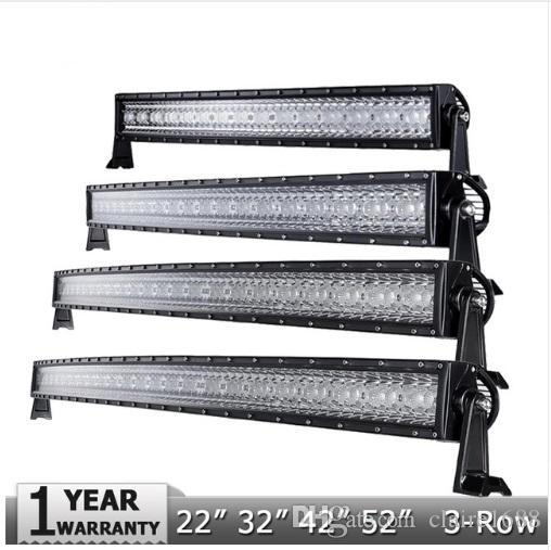 New 3 Row 14 22 32 42 50 52 CREE Chips Curved LED Light Bar Offroad