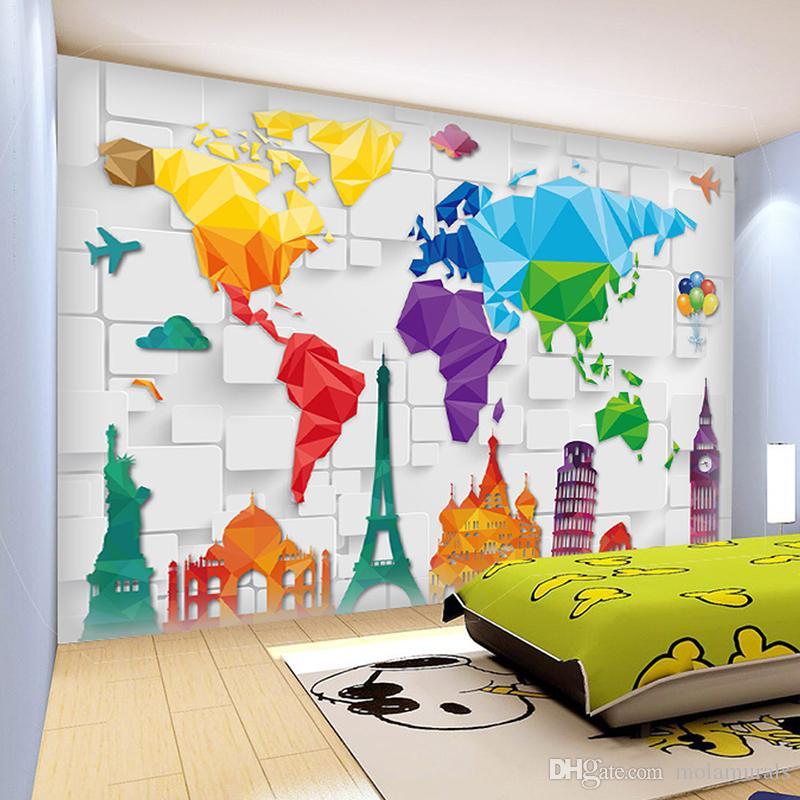 Wallpaper Graffiti Keren 3d Custom Size 3d Wall Murals World Plate Map Anime Wallpaper