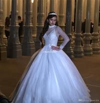 Elegant White Long Sleeve Quinceanera Dresses Beads High ...