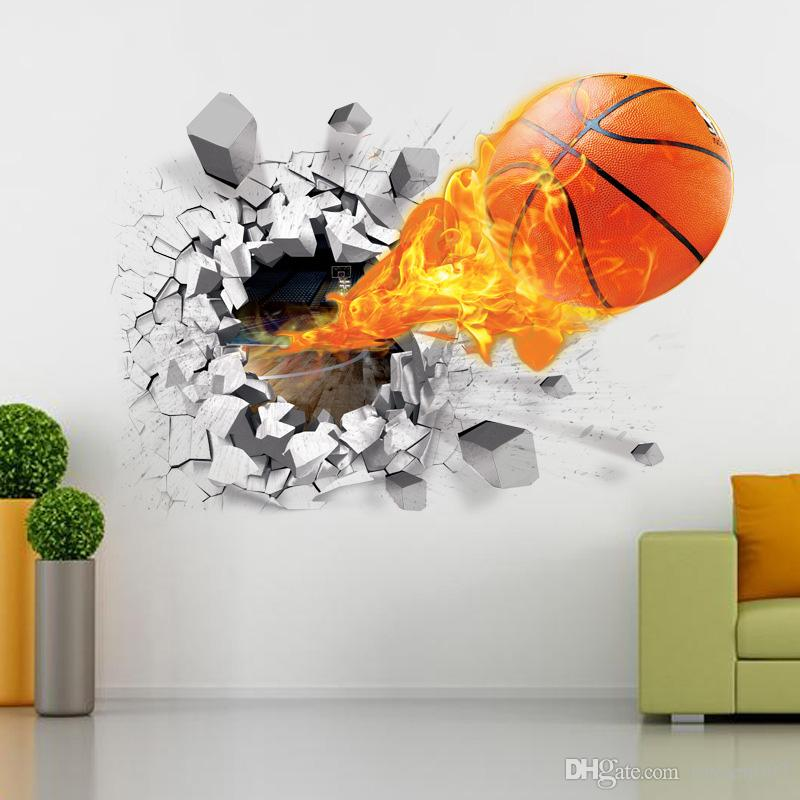 Animal Removable Wallpaper 3d Basketball Wall Sticker Decals Basketball Wall Murals