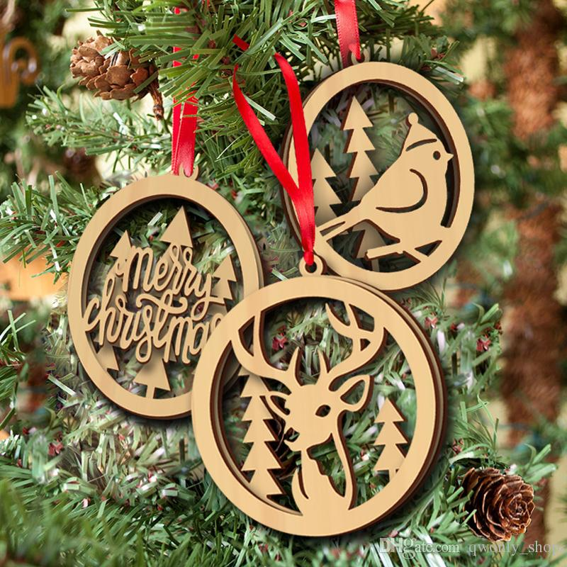 Wooden Christmas Double Layer Laser Cut Hollow Hanging Pendant Wood