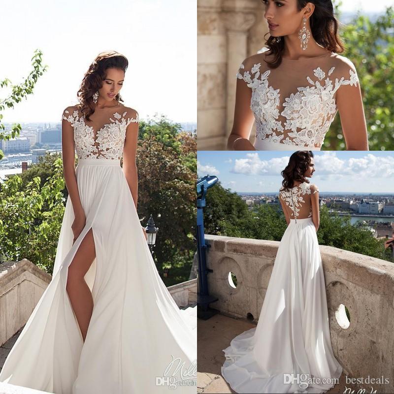 Discount Simple Elegant Chiffon Bohemian Wedding Dresses 2017 Sheer