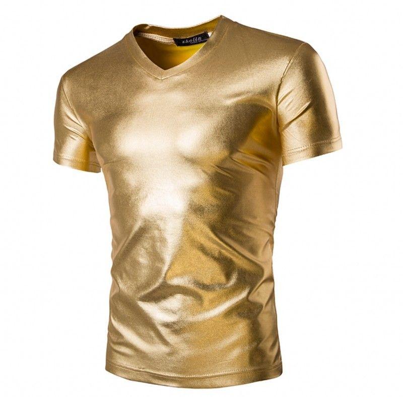 Man Popular Nightclub Fashion T Shirt Short Sleeve V Neck Gold