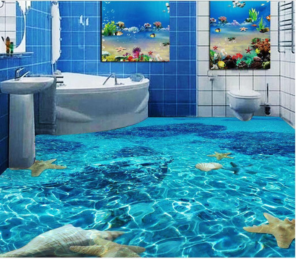 3d Wallpaper For Bedroom Wall India Classic Home Decor Seawater Toilet Bathroom Bedroom 3d