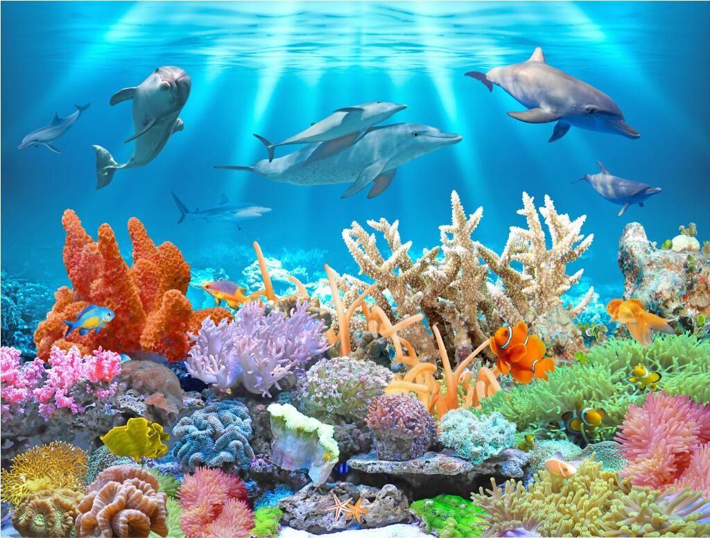 3d Effect Wallpaper For Living Room 3d Wallpaper Custom Photo Mural Underwater Dolphin Coral