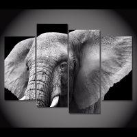 2018 Framed Hd Printed Black White Elephant Tusks Ear ...