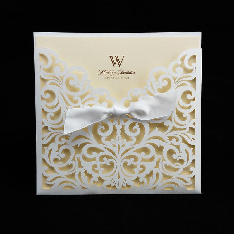 Wholesale Sample Card Laser Cut Wedding Invitations With Ribbon