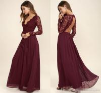 2017 Burgundy Chiffon Bridesmaid Dresses Long Sleeves ...