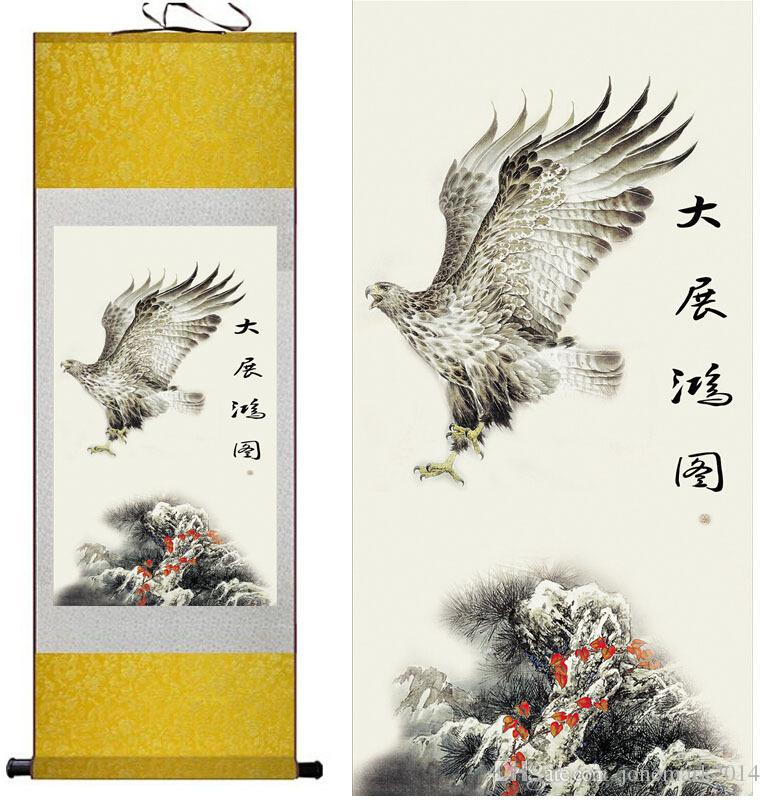 Eagle Chinese Art Painting Home Office Decoration Chinese eagle painting  eagle silk scroll painting Wall Art Hang Picture