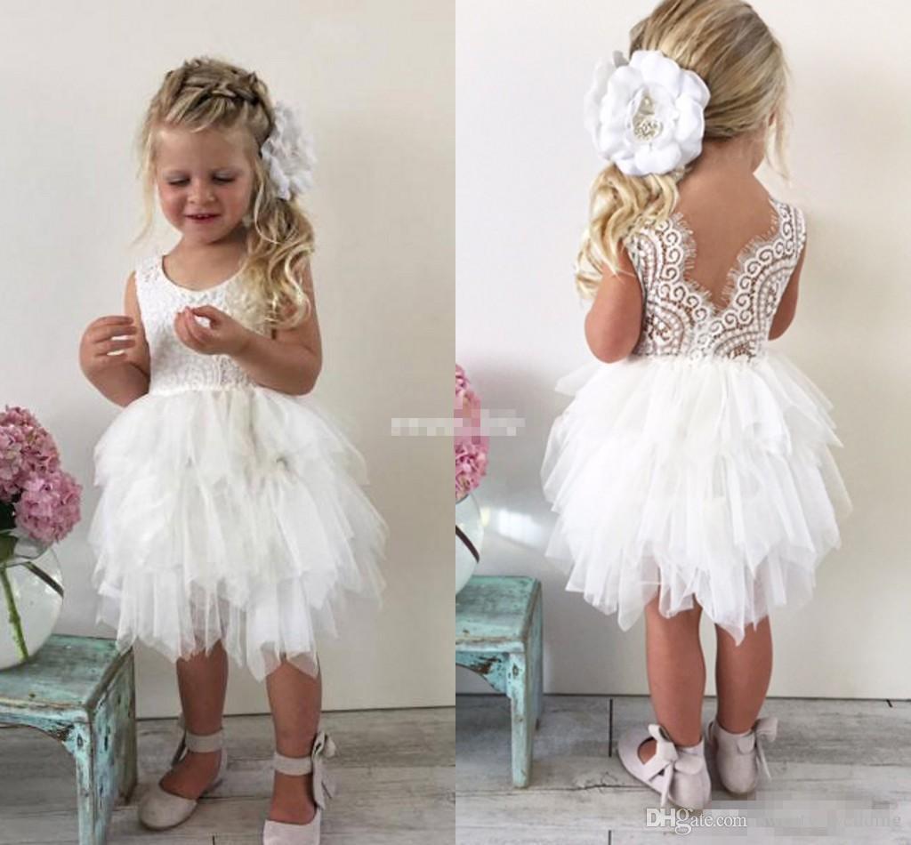Cute Boho Wedding Flower Girl Dresses For Toddler Infant