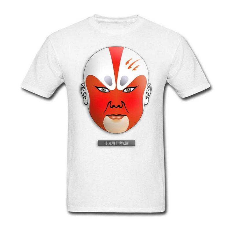Tee Shirt Men\u0027s Beijing Peking Opera Mask Cotton Popular Shirts for