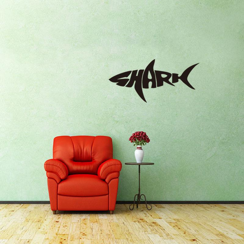 PVC Cartoon Shark Wall Stickers Creative Letters Art Mural Bedroom