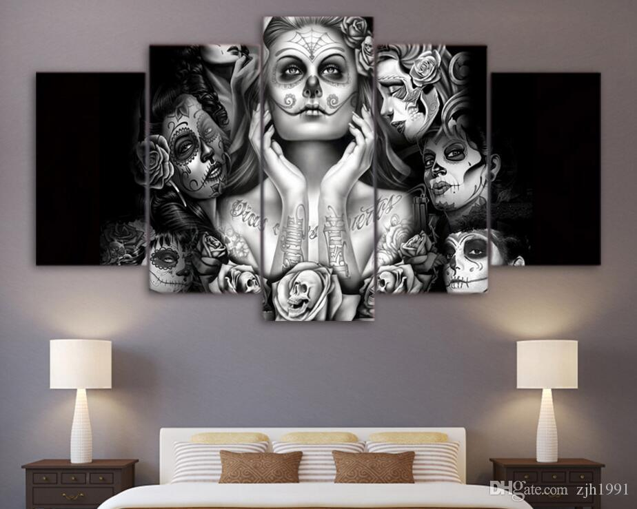 2017 Hd Printed Day Of The Dead Face Canvas Art Painting - living room canvas art