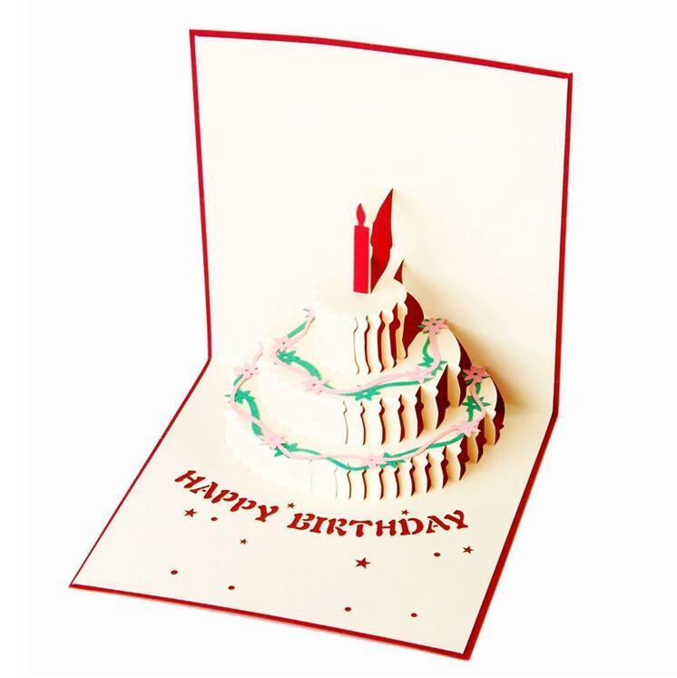 Compre Logotipo Personalizado Feliz Aniversário Bolo Cartão 3D Pop