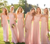2017 Pastel Pink Cheap Long Lace Chiffon Bridesmaid