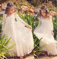 2017 New Beach Flower Girl Dresses White Ivory Boho First ...