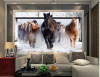 Natural Beautiful Horse Living Room TV Wall Mural 3d ...