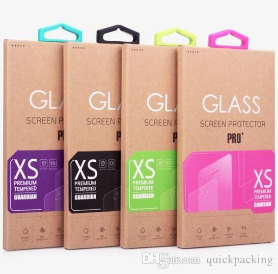 Kraft Paper Box Color Label Hook For Tempered Glass Screen Protector