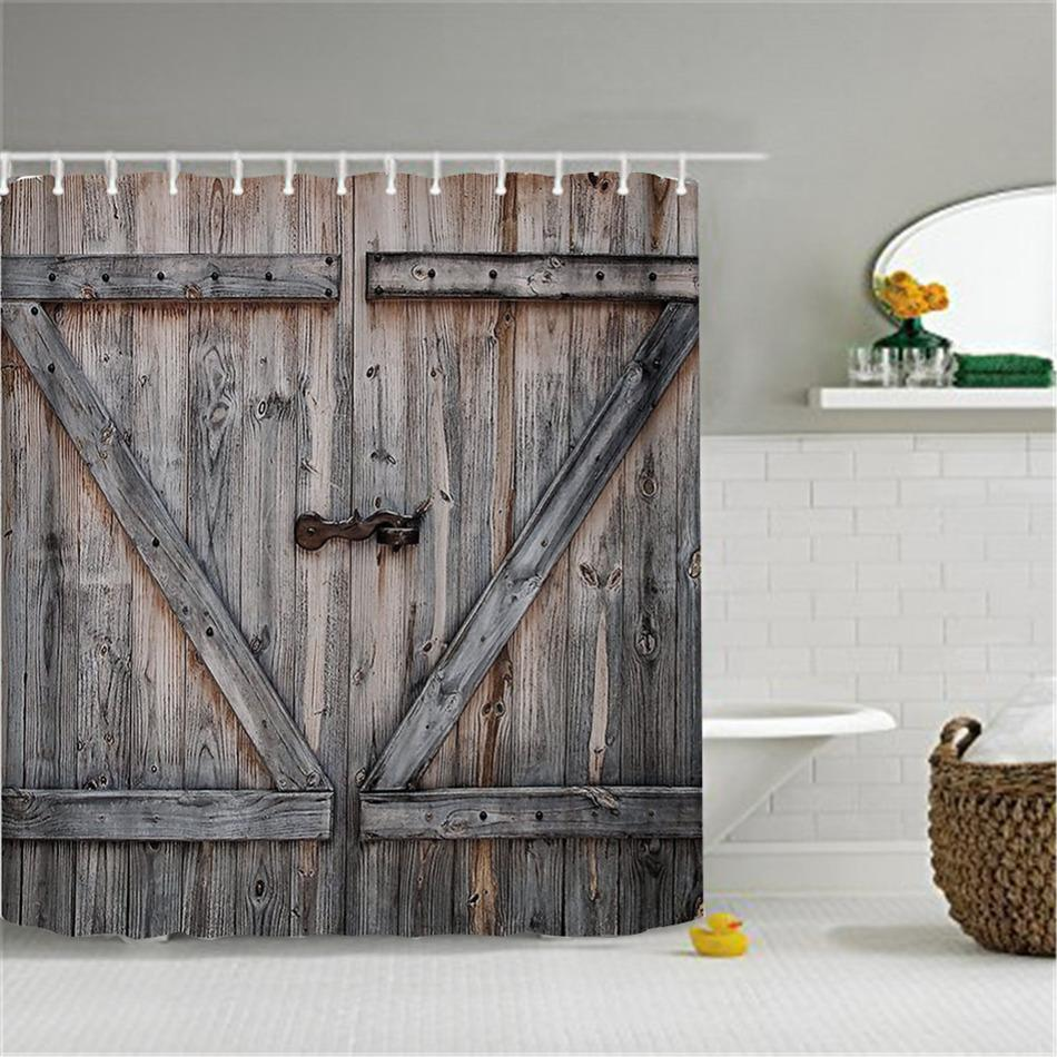 Enchanting 2018 Wholesale Polyester Shower Curtain Bronze Wooden Doorvintage Rustic Shower Curtain American Country Style Bathroom Decor Artfrom 2018 Wholesale Polyester Shower Curtain Bronze Wooden baby shower Rustic Shower Curtains