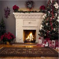 2018 Indoor White Fireplace Christmas Backdrop Decorated ...
