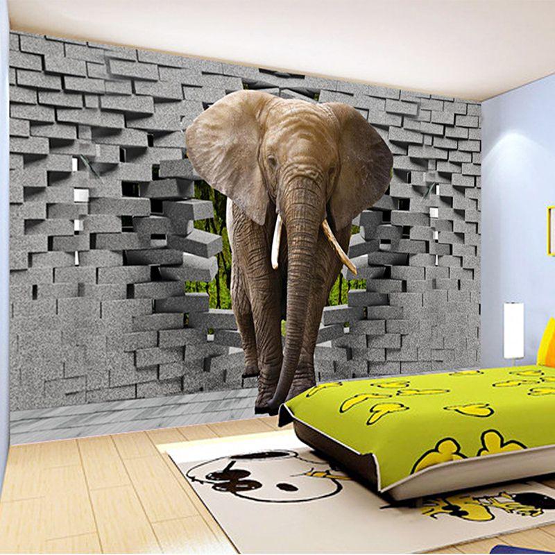 3d Wallpaper For Living Room In India Custom 3d Photo Wallpaper Lifelike Elephant Wall Breaching