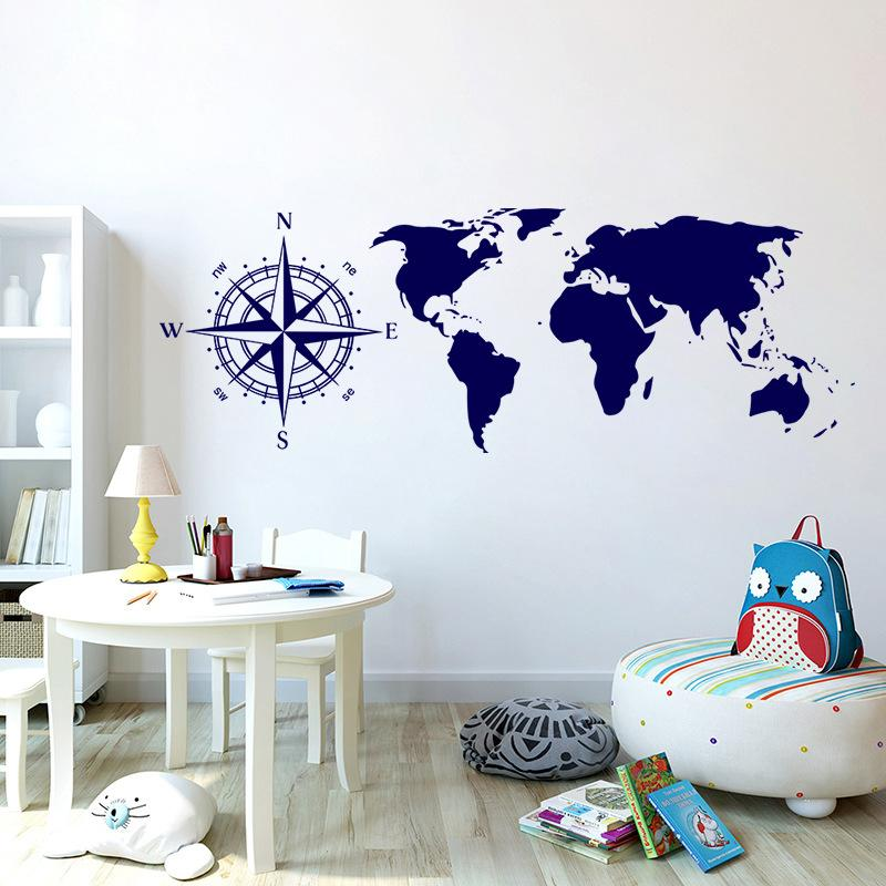 Five Colors Optional Wall Stickers World Map Wall Decals For Living