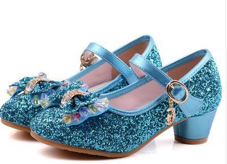 Kids Girls High Heels For Party Sequined Cloth Blue Pink